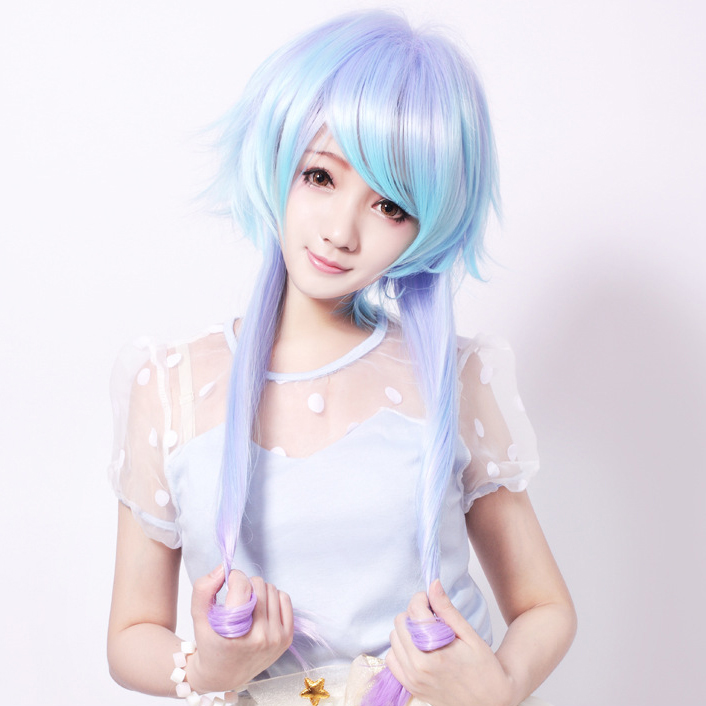 japanese gradient cosplay wigs oblique bangs straight mg550 mori