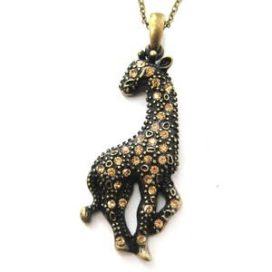 Giraffe Animal Charm Pendant Necklace in Bronze with Rhinestones