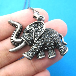 Detailed Elephant Animal Pendant Necklace in Silver with Rhinestones