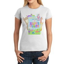 Junior Fit Ladies' T-Shirt - Kawaii Llamas Happy Place