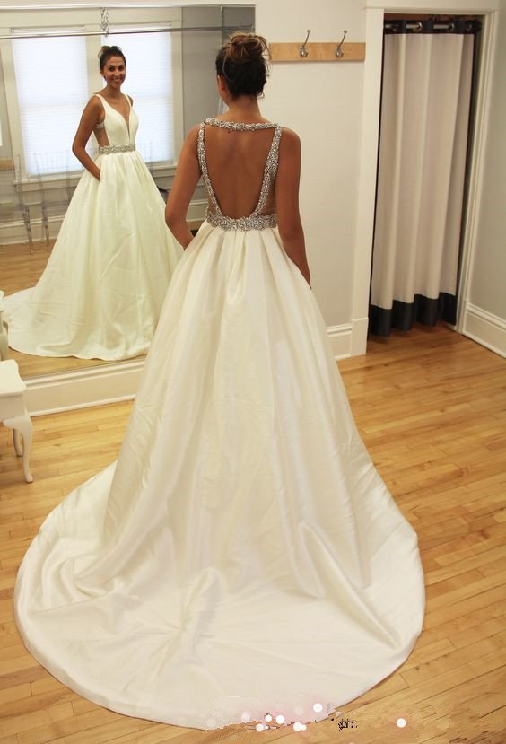 Backless Wedding Dress with Pockets,Dresses For Brides,Bridal Gown ...