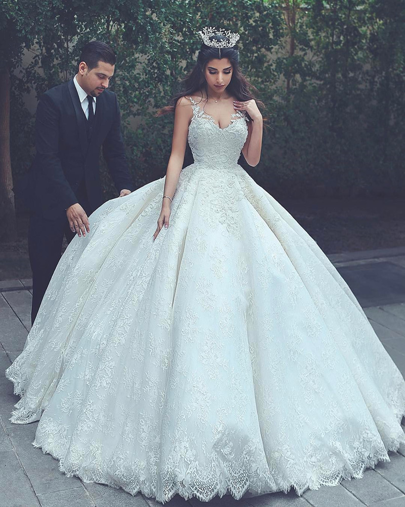Lace wedding gowns princess wedding dress ball gowns for Lace dresses for weddings