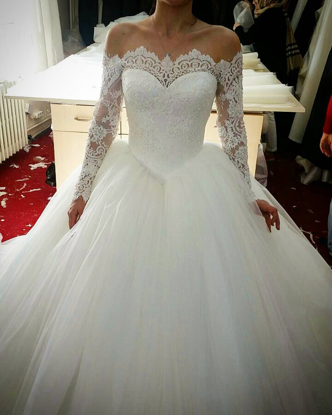 lace long sleeves tulle ball gowns wedding dresses off the shoulder ...