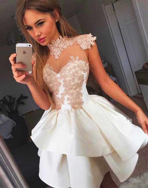 Cheap homecoming dresses 2018 Cute A-Line High Neck White Lace Short ...