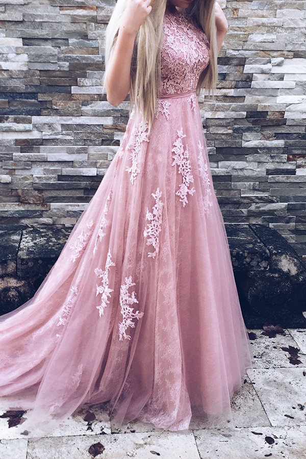 Cute Pink Round Neckline Tulle and Lace Long Gowns, Pink Party Gowns ...