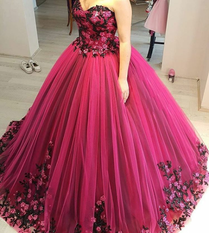 Cheap Prom Dresses 2017 Modest Quinceanera Dress,Floral Prom Dress ...