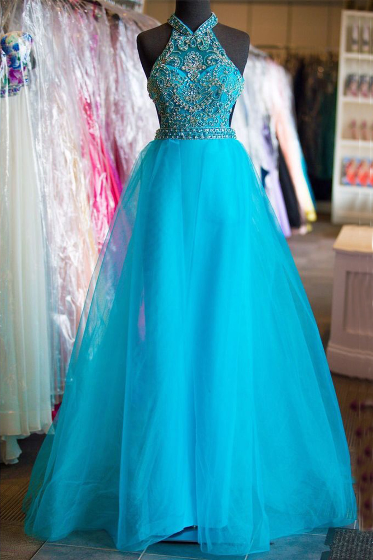 Royal blue tulle high neck long beaded backless senior prom dress ...
