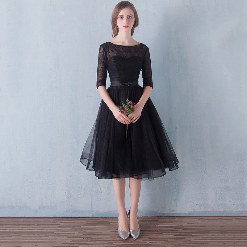 Black Prom Dresses A Line Scoop Neck Short Homecoming Dresses Lace