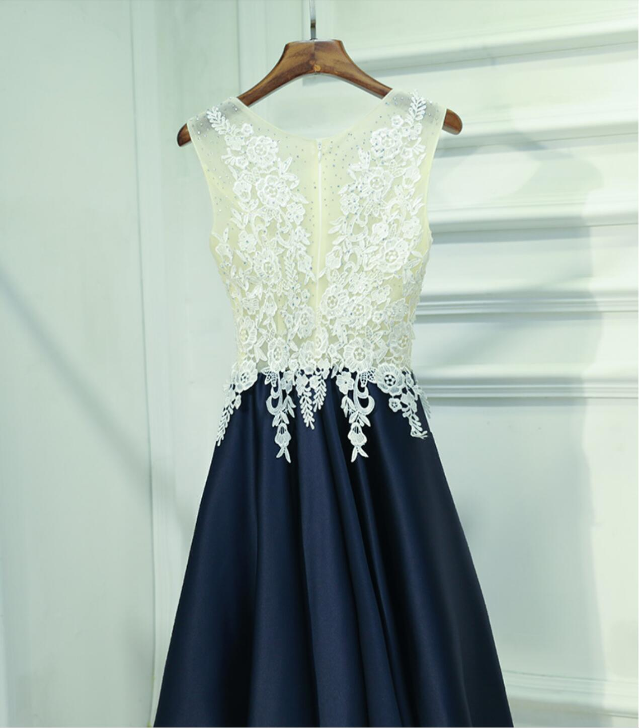 See Through Lace Navy Skirt Short Homecoming Prom Dresses ...