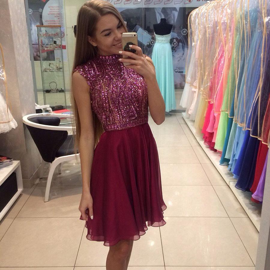 Fancy Short Prom Dresses, A-line High Neck Homecoming Dresses ...