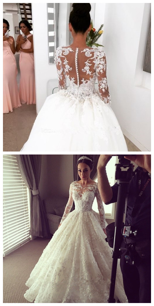 White/ivory Wedding Dress Lace Appliques Long Sleeve Bridal Gown ...
