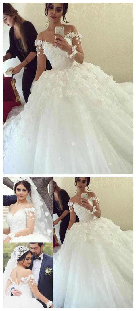 Long-Sleeves Unique Appliques Ball-Gown Wedding Dress Applique ...