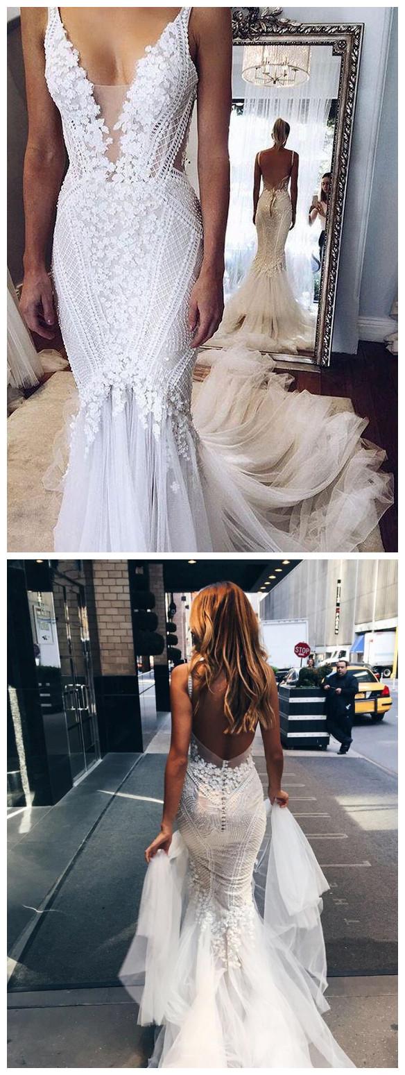 Appliques v neck elegant mermaid open back wedding dress deep v neck appliques v neck elegant mermaid open back wedding dress deep v neck junglespirit Images