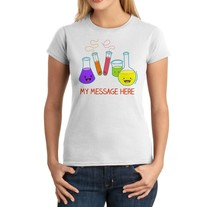 Junior Fit Ladies' T-Shirt - Personalized Kawaii Chemistry Glassware