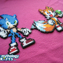 Sonic the Hedgehog and Tails the Fox Perler Bead Decorations