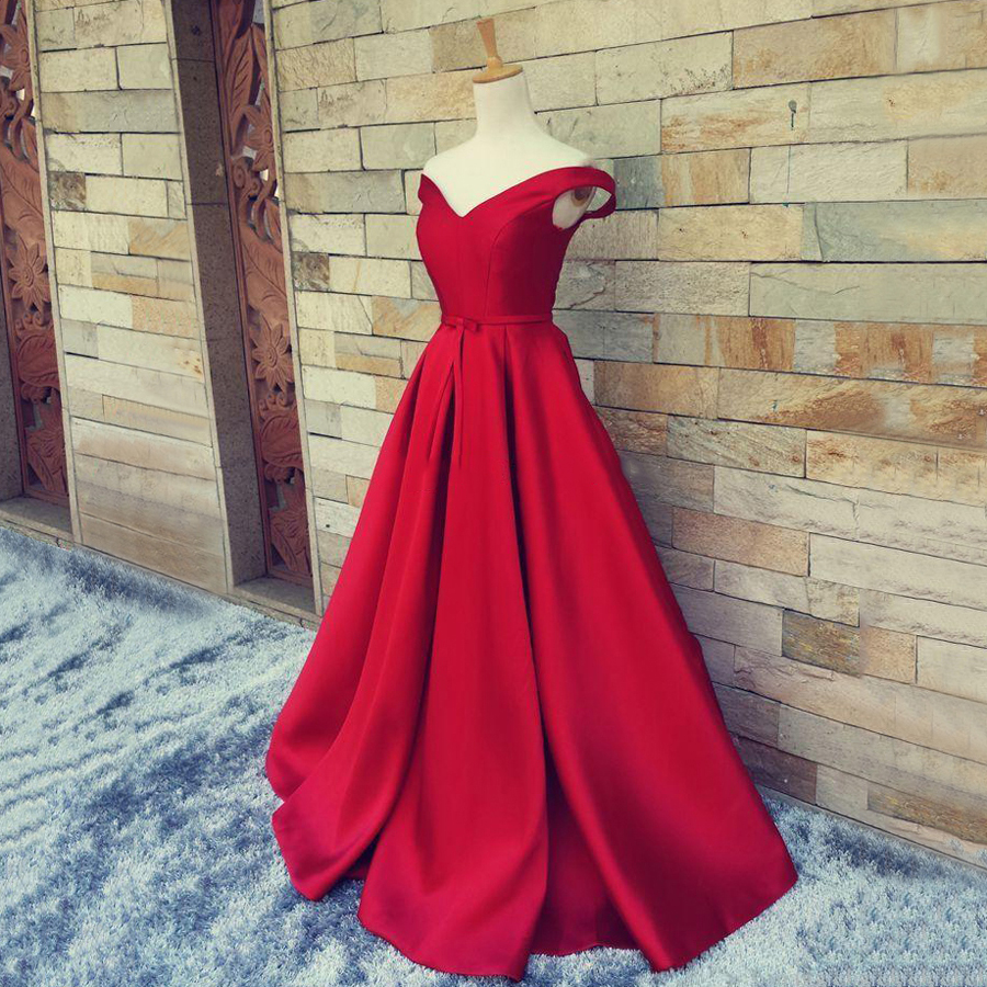 Gorgeous Off-the-shoulder Red Prom Dresses, Satin Sweep Train Sashes ...