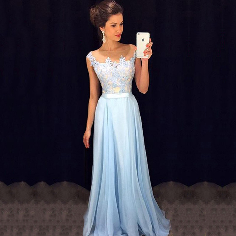 Affordable Scoop Neck Blue Prom Dresses, Chiffon Tulle Appliques ...