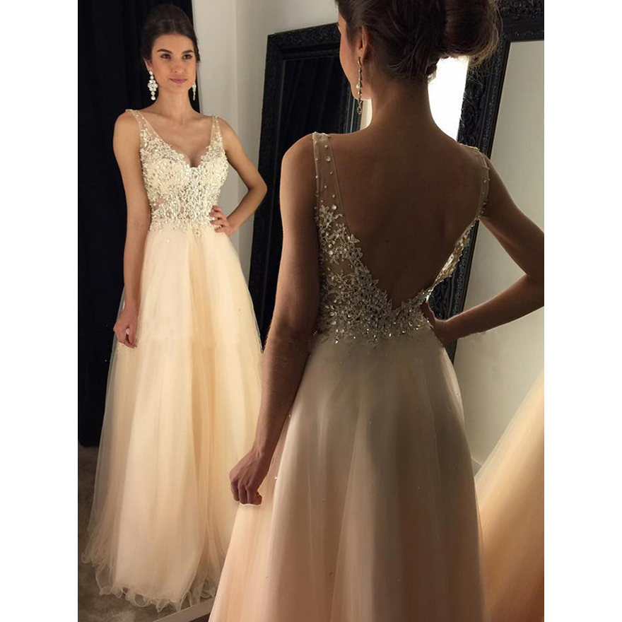 Glamorous Backless Prom Dresses, A-line V-neck Tulle Long Formal ...