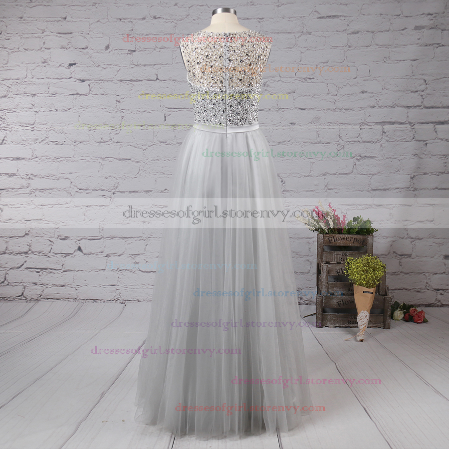 Fashion A-line Long Prom Dresses, Scoop Neck Cheap Evening Party ...