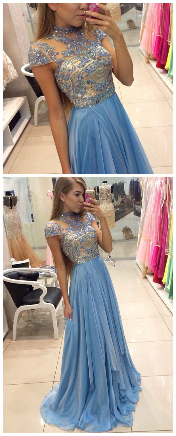 Delicate Beadings Chiffon A-line Prom Dress Cap Sleeve Sweep Train ...
