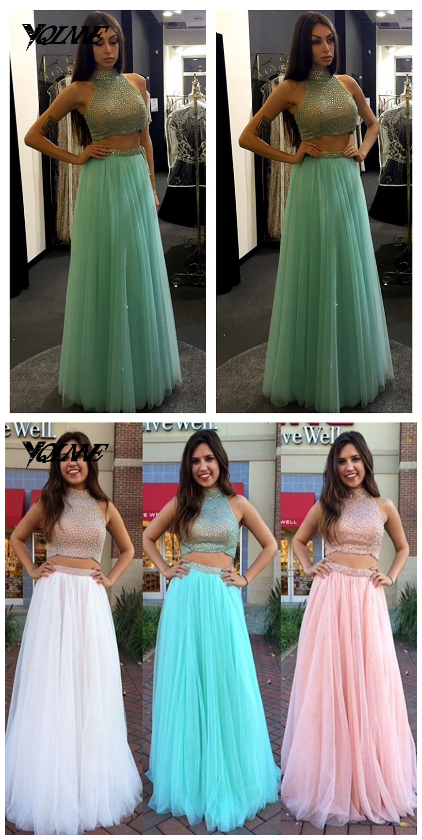 Mint Dress,Prom Dresses,Two Pieces Prom Dress,Halter Prom Dress ...