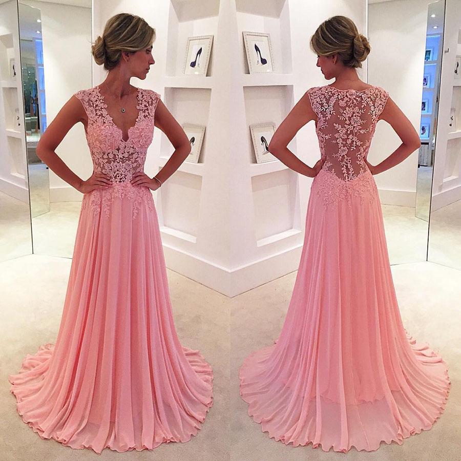 Modest V-neck Pink Prom Dresses, Chiffon Sweep Train Long Evening Formal  Dress,