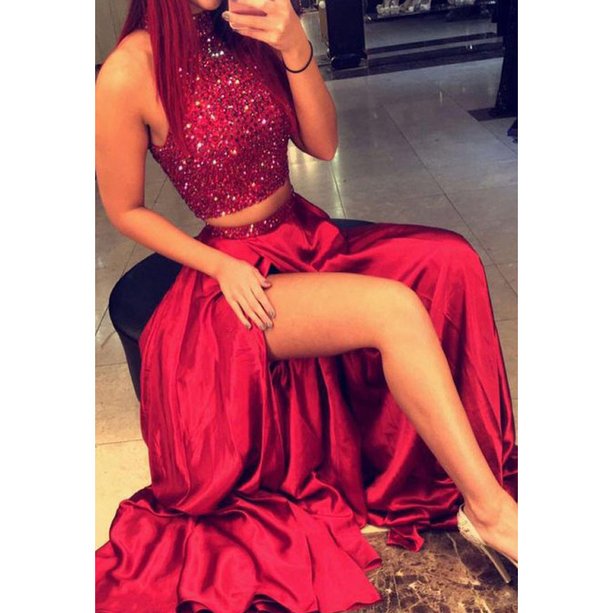 Two Piece Prom Dresses, Latest A-line Long Formal Party Dresses ...