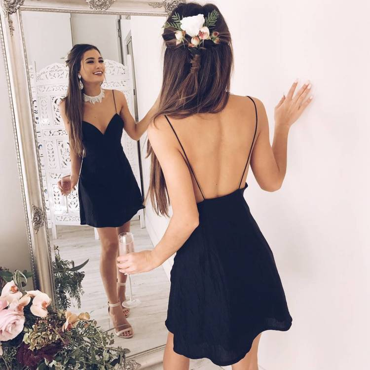 Simple black backless short prom dress, black homecoming dress ...