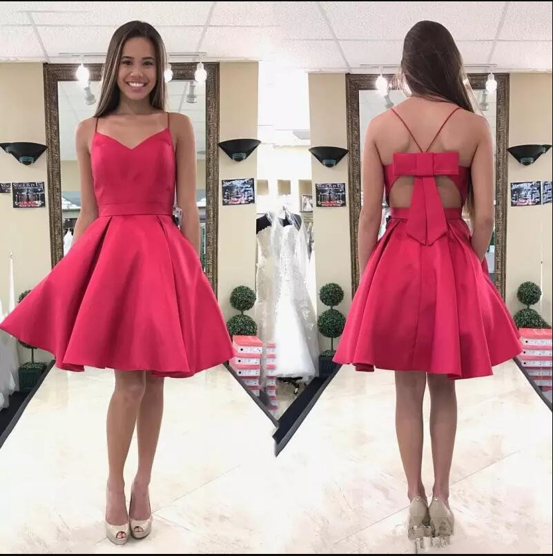 Cute A-line Short Hot Pink Homecoming Dress with Bow · modsele ...