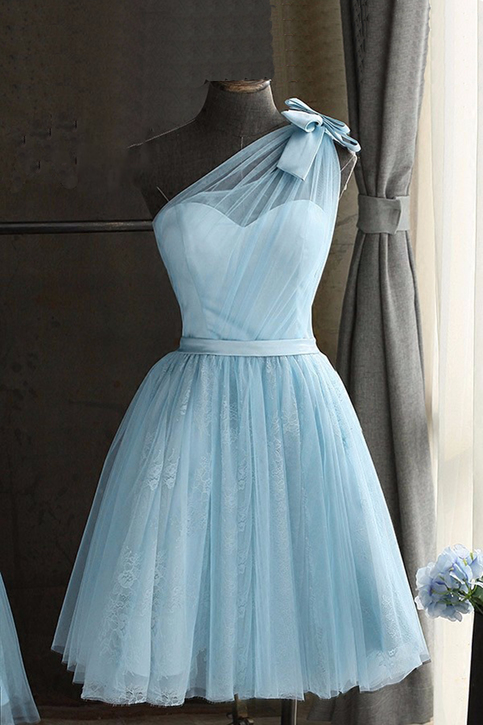 Baby Blue Tulle One Shoulder Short Prom Dress Bowknot