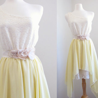 Yellow and cream wedding dress