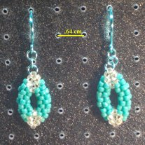 Silver and Turquoise Oval Earrings