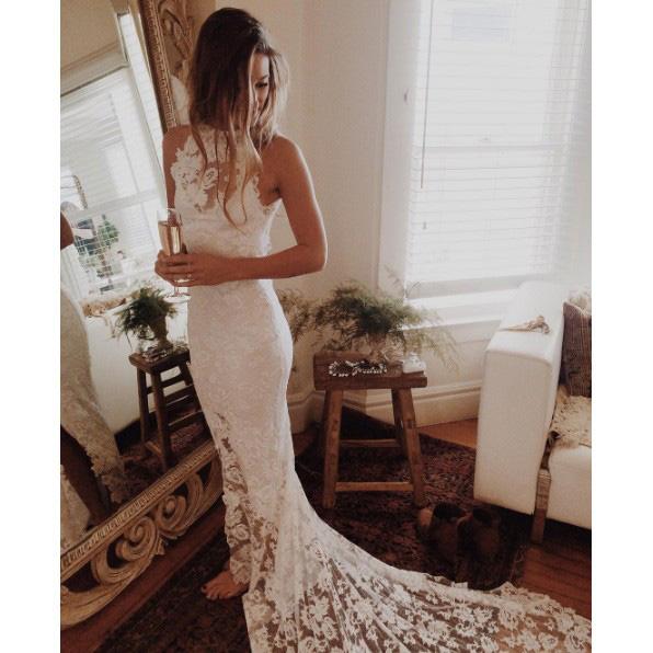 Romantic Boho Beach Wedding Dresses,Lace Mermaid Princess Backless ...