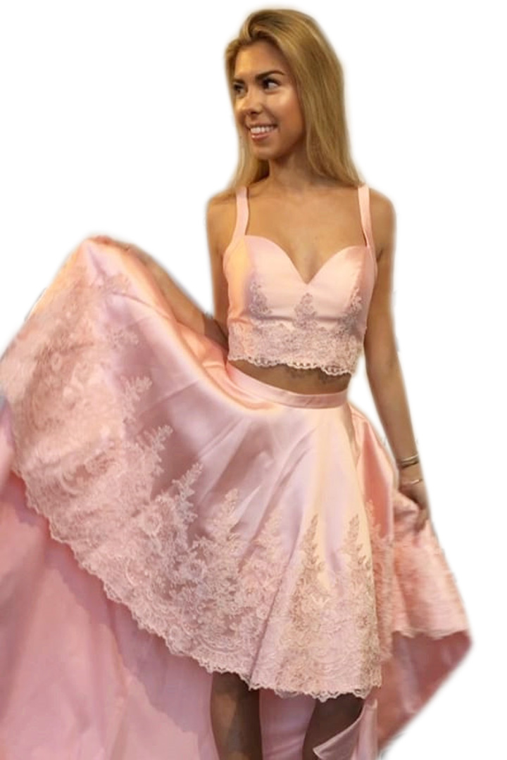 Two Pieces High Low Lace Pink Homecoming Dresses Prom Dresses 117899 ...