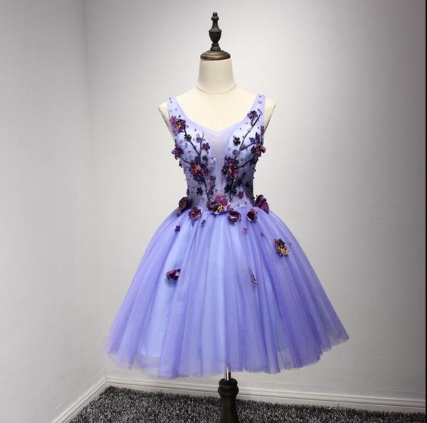 Purple V Neckline Two Straps Beaded Homecoming Prom Dresses ...