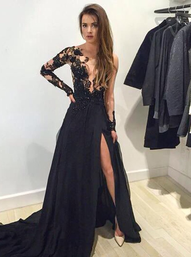 Long Sleeves Black Lace Prom Dresses Evening Gowns 00718 ...