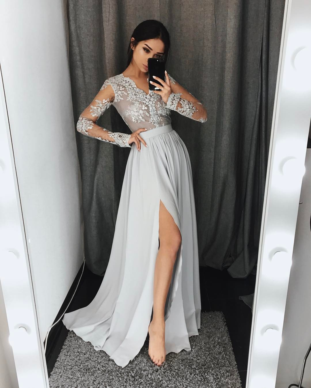 Elegant Chiffon Prom Dresses Lace Long Sleeves Side Slit Grey ...