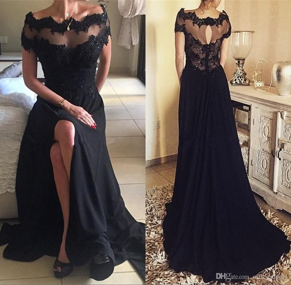 High Quality A-Line Bateau Short Sleeves Split Black Prom Dress with ...