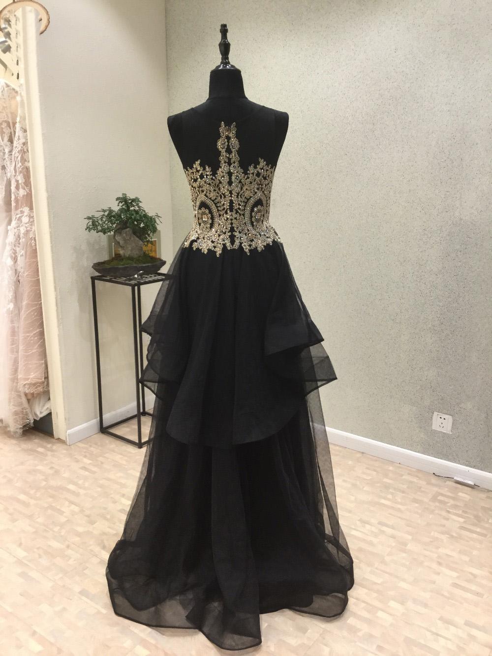 Black Organza Long Layer Homecoming Dress Golden Lace