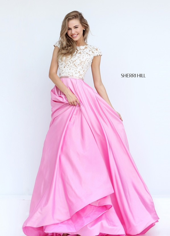 D410 Cap Sleeve Key Hole Back Empire Prom Dresses, Ball Gown ...