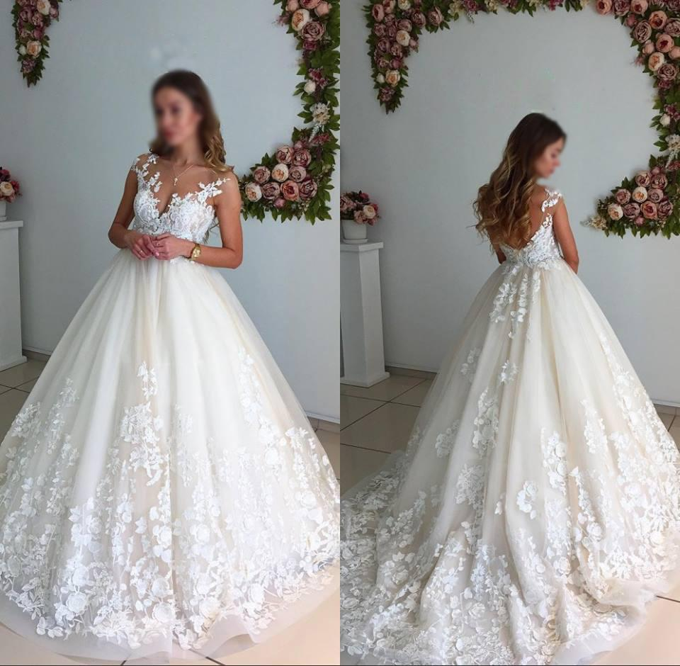 Gorgeous ball gown lace long wedding dresses elegant a for Elegant ball gown wedding dresses