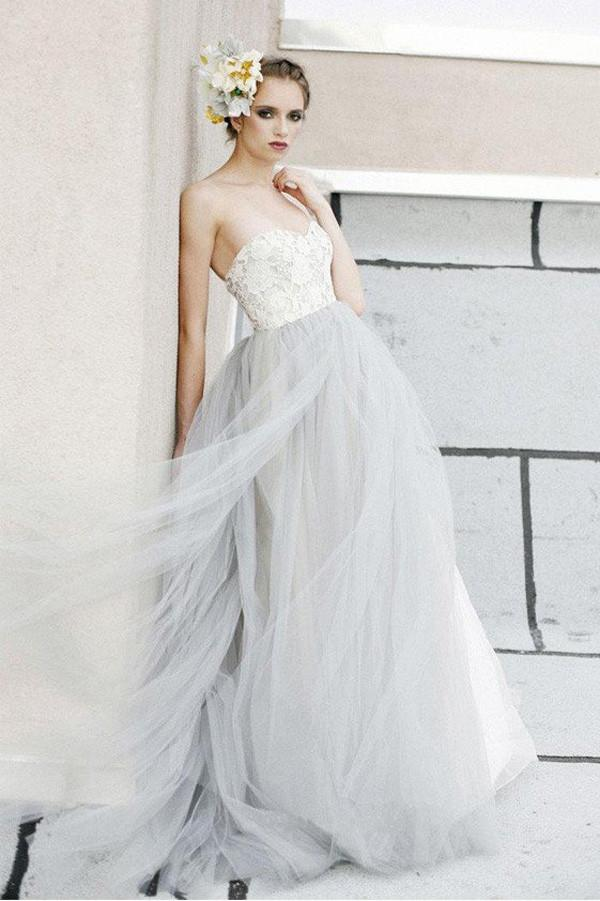 Gray long strapless lace beach wedding dresses simple for Flowy wedding dress with sleeves