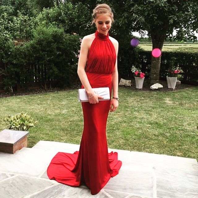 2018 Red Mermaid Prom Dresses High Neck Ruched Evening Formal Dress