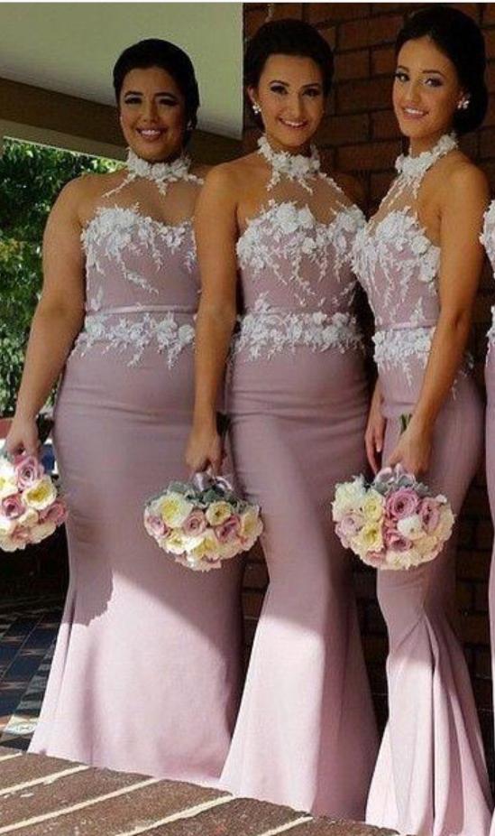 Pink Mermaid Bridesmaid Dresses Halter High Neck Lace Appliques