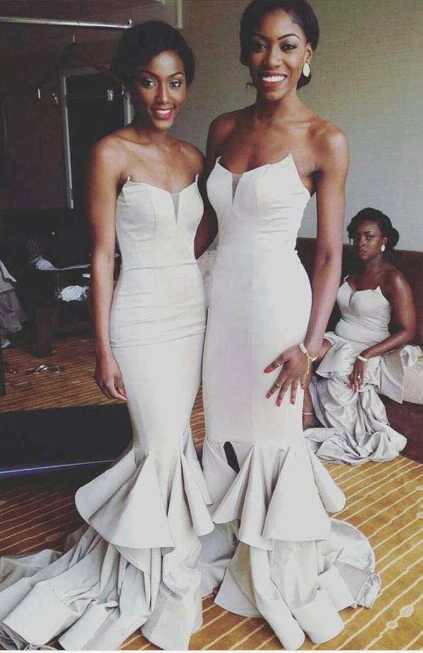 New Charming Split Bridesmaid Dresses Cheap Long Mermaid Wedding ...