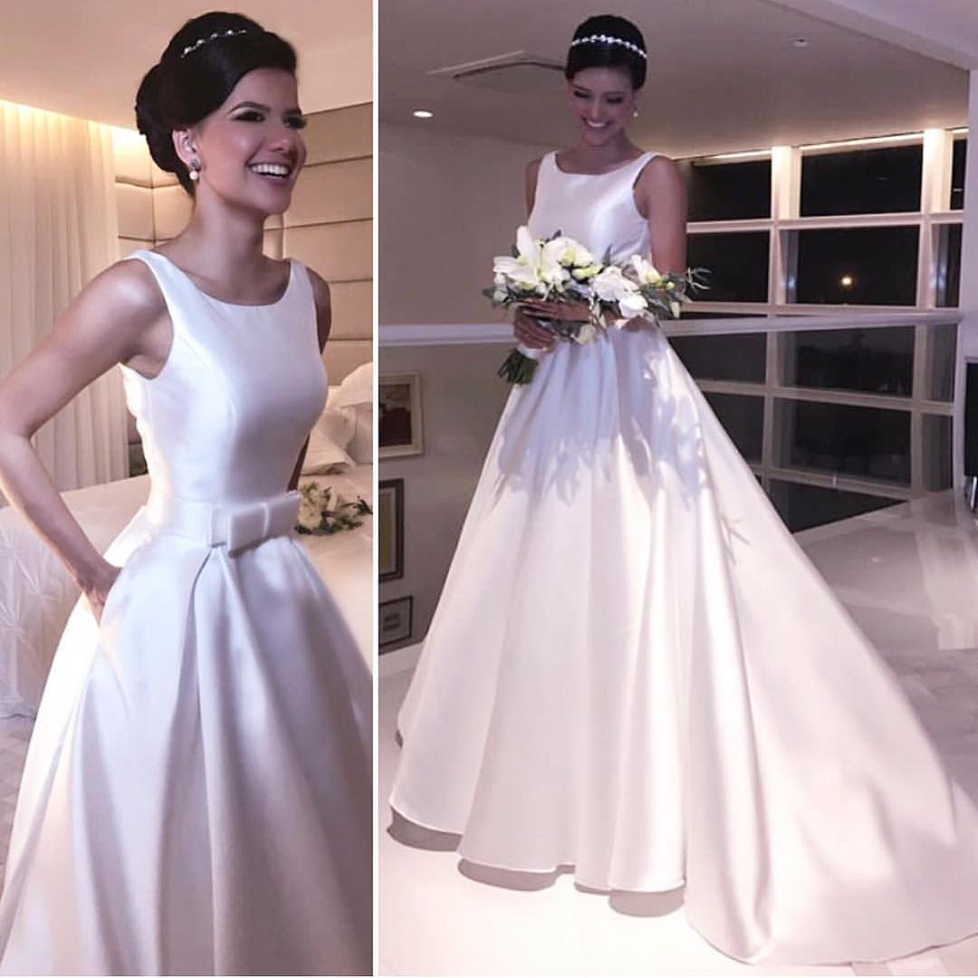 Concise Puffy Satin Scoop-Neck Court Train Wedding Dress with Front ...
