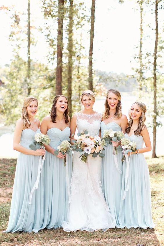 Pale blue long chiffon bridesmaid dresses,chiffon simple wedding ...