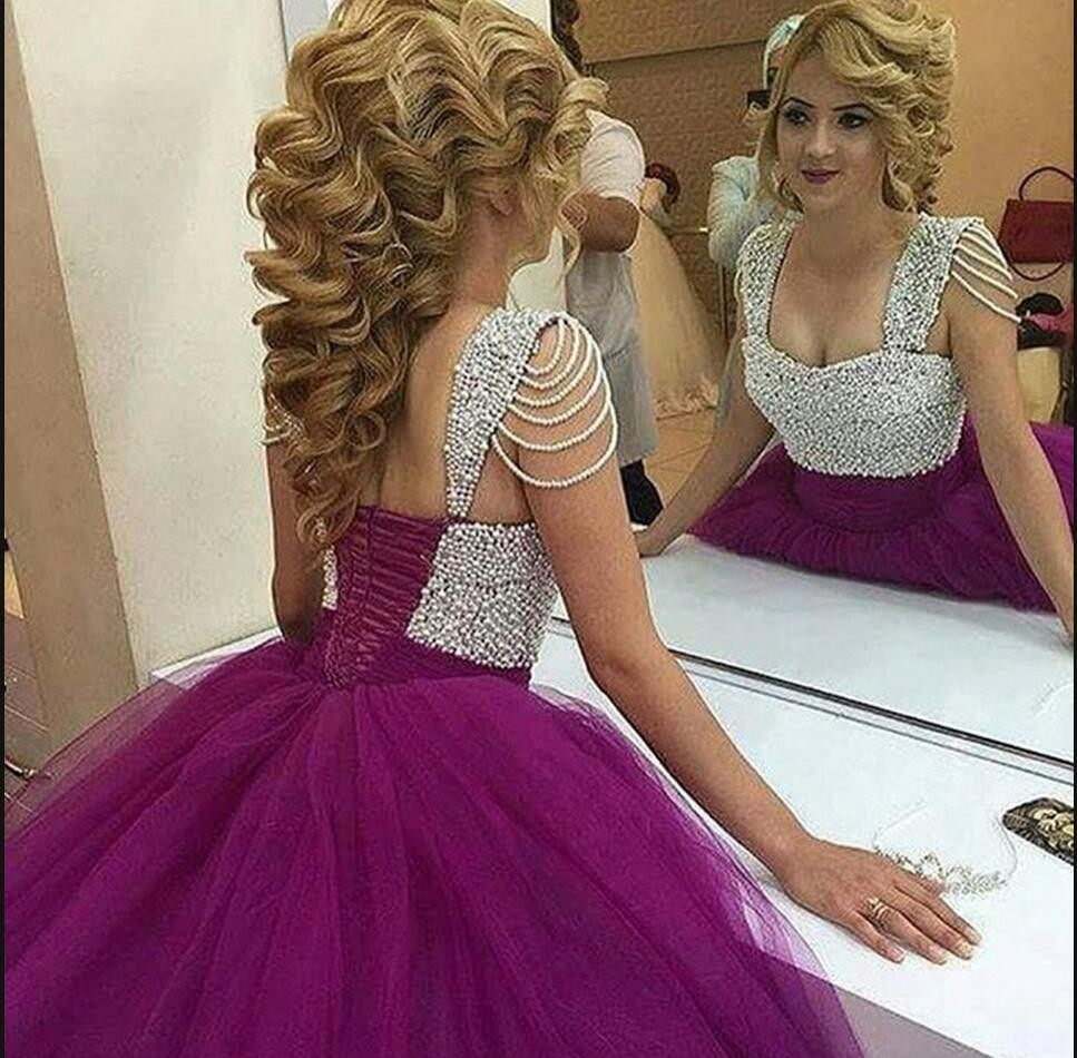 ball gown prom dress with peals, short purple pearls princess sweet ...