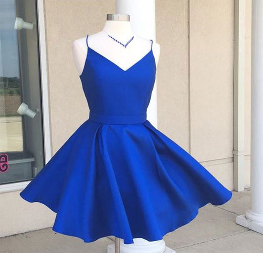 Royal Blue Homecoming Dressesspaghetti Straps Homecoming Dress