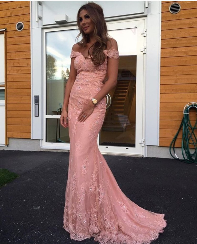 Elegant Pink Lace Mermaid Evening Dress Off Shoulder Prom Gowns,Long ...